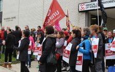 Employees of the Medical Labs of Windsor rally outside the lab on Ouellette Ave. October 13, 2017. (Photo by Maureen Revait)
