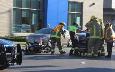 E-bike collision at the intersection of Park Ave. W. and Lacroix St. in Chatham. October 18, 2017. (Photo by Sarah Cowan Blackburn News Chatham-Kent).