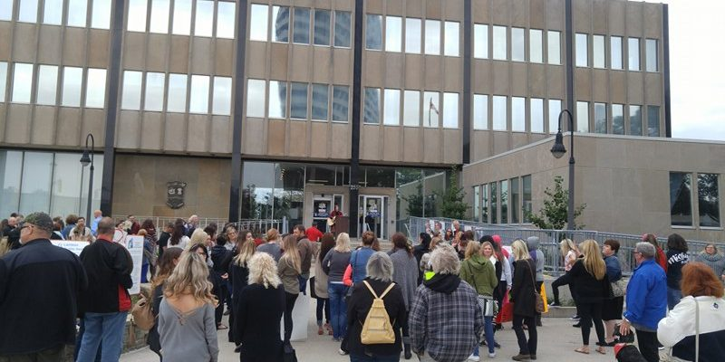 Anti-poverty rally at Sarnia city hall. October 13, 2017 (Photo by Colin Gowdy)