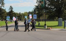 Faculty members on strike at St. Clair College, October 16, 2017. (Photo by Maureen Revait)