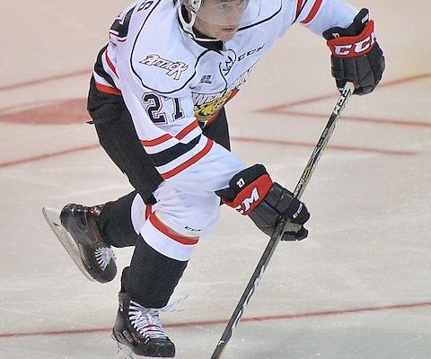 Aidan Dudas of the Owen Sound Attack accepts a pass.