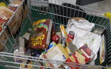 A shopping cart from the Irish Miracle Food Drive rally at St. Patrick's Catholic School in Sarnia. (Photo by Colin Gowdy, 28 Nov 2017)