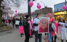 Roughly 100 people marched from Dundas St. to Rectory St. on November 27, 2017, in memory of Josie Glenn who was found murdered the previous month. (Photo by Miranda Chant, Blackburn News)