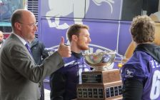 Mayor Matt Brown greets Western Mustang athletes, who brought the Vanier Cup to city hall for a special ceremony, November 30, 2017. (Photo by Miranda Chant, Blackburn News)