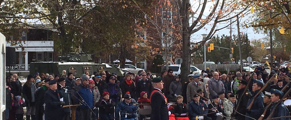 Remembrance Day Ceremony from the Sarnia Cenotaph (Photo by Sue Storr)