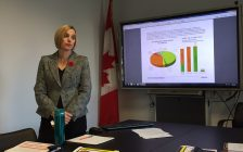 City of Sarnia Finance Director Lisa Armstrong unveils 2018 draft budget during a media presentation. November 3, 2017 (Photo by Melanie Irwin)