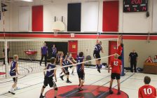 The Chatham Christian Flames senior boys' volleyball team (purple) takes on Maranatha Christian Academy in Windsor. November 15, 2017. (Photo courtesy of Sharon Smith)
