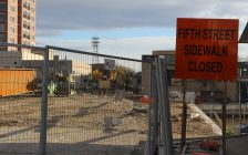 Fifth St. bridge construction in Chatham. November 7, 2017. (Photo by Sarah Cowan Blackburn News Chatham-Kent).