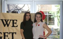 Master of Ceremonies at CKSS Remembrance Day ceremony: Sara Tetrault and Stephanie Figueiredo. November 10, 2017. (Photo by Sarah Cowan Blackburn News Chatham-Kent).