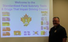 Constable Chris Baillargeon teaching the standardized field sobriety test course for new officers at Chatham-Kent Police Service. November 29, 2017. Photo by Sarah Cowan Blackburn News Chatham-Kent).