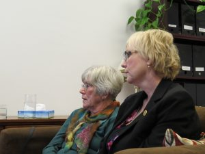 Mary Evans and London West MPP Peggy Sattler. (Photo by Miranda Chant, Blackburn News)