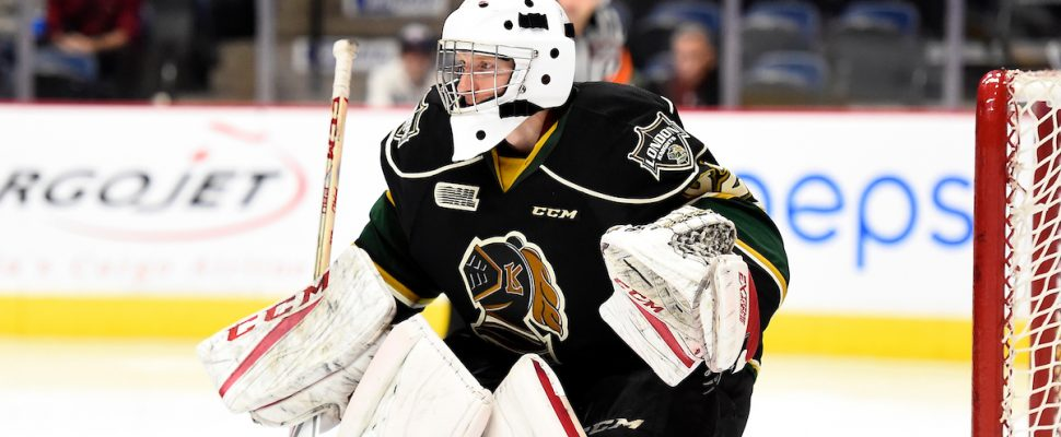 Joseph Raaymakers of the London Knights. (Photo courtesy of Aaron Bell via OHL Images)