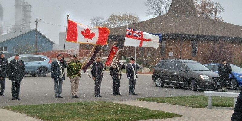 Members of the community gathered at the Aamjiwnaang First Nation Cenotaph for the annual Remembrance Day ceremony. November 10, 2017 (BlackburnNews.com Photo by Colin Gowdy)