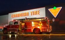 Chatham-Kent fire crews respond to a fire at the Canadian Tire store in Blenheim. November 23, 2017. (Photo courtesy of Chatham-Kent Fire and Emergency Services)