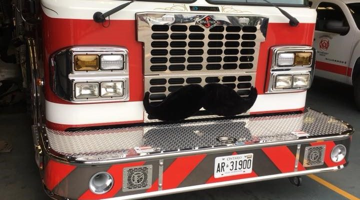 Chatham-Kent firetruck with mustache for Movember. (Photo courtesy of Chatham-Kent Fire & Emergency Services).