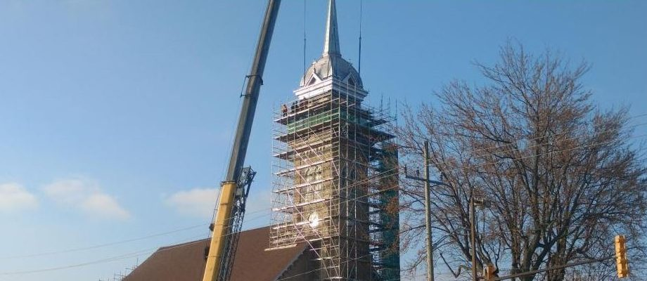 The steeple at St. Anne's Church in Tecumseh has finally been raised. November 14, 2017. (Photo by Mark Brown)