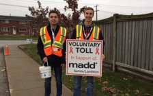 Volunteers collect donations for MADD Sarnia-Lambton voluntary tolls. (Photo submitted and used with permission by MADD)