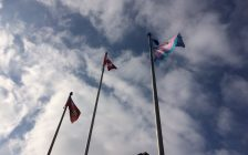 Transgender flag flying at the CK Civic Centre. Nov 14, 2017. (Photo by Paul Pedro)