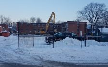 Demolition begins on the former nursing residence at the old Sarnia General Hospital site. December 29, 2018 (Photo by Hilary Ryan)