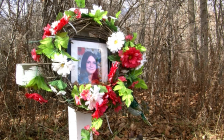 A roadside memorial marks where the body of 14-year-old Karen Caughlin was found in 1974. (Photo courtesy of OPP)