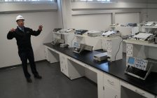 Lambton College Facilities Management Brent Thomas shows off a lab in the newly renovated Centre of Excellence in Energy and Bio-Industries. December 15, 2017 (Photo by Melanie Irwin)