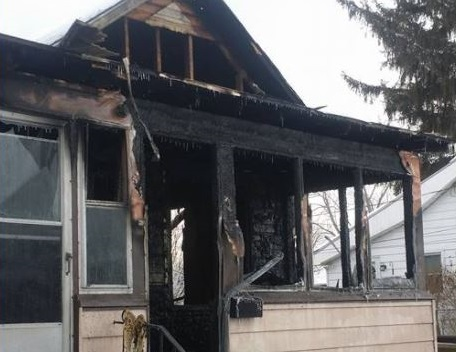 A home on Mill St. in Leamington after a fire on December 26, 2017. (Photo courtesy of Tanisha Johnson)