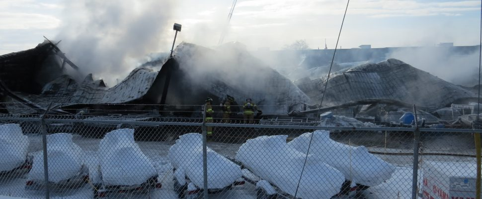 A rear storage warehouse at Hully Gully on Wharncliffe Rd. destroyed by fire, December 28, 2017. (Photo by Miranda Chant, Blackburn News)