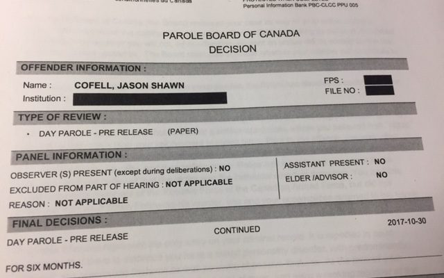 Photo of the Parole Board of Canada decision to extend day parole for Jason Cofell. (Photo by Matt Weverink)