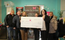 Welcome Centre Shelter For Women receives $2000 donation from Unifor Local 444, December 8, 2017. (Photo by Maureen Revait)