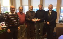 (Left to right) Ashvin Thakkar, Raj Barchha, Jaggi Singh present Sarnia Mayor Mike Bradley and DJ Robb Funeral Home's Tom Wolfe with donations to create an area to scatter cremated remains. December 7, 2017 (Photo by Melanie Irwin)