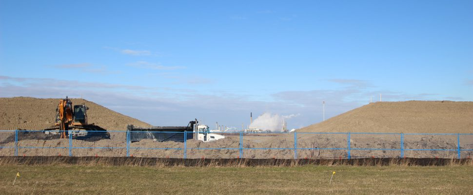 Preliminary work underway at site of new $2.2-billion polyethylene plant in St. Clair Township Dec. 8, 2017 (BlackburnNews.com photo)