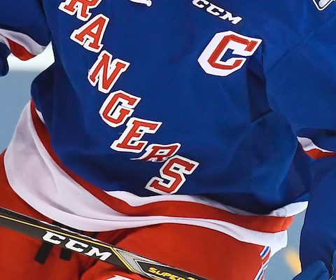 Close up ofKitchener Rangers player Connor Bunnaman's jersey.