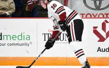 Nate Schnarr of the Guelph Storm gets ready for a pass.