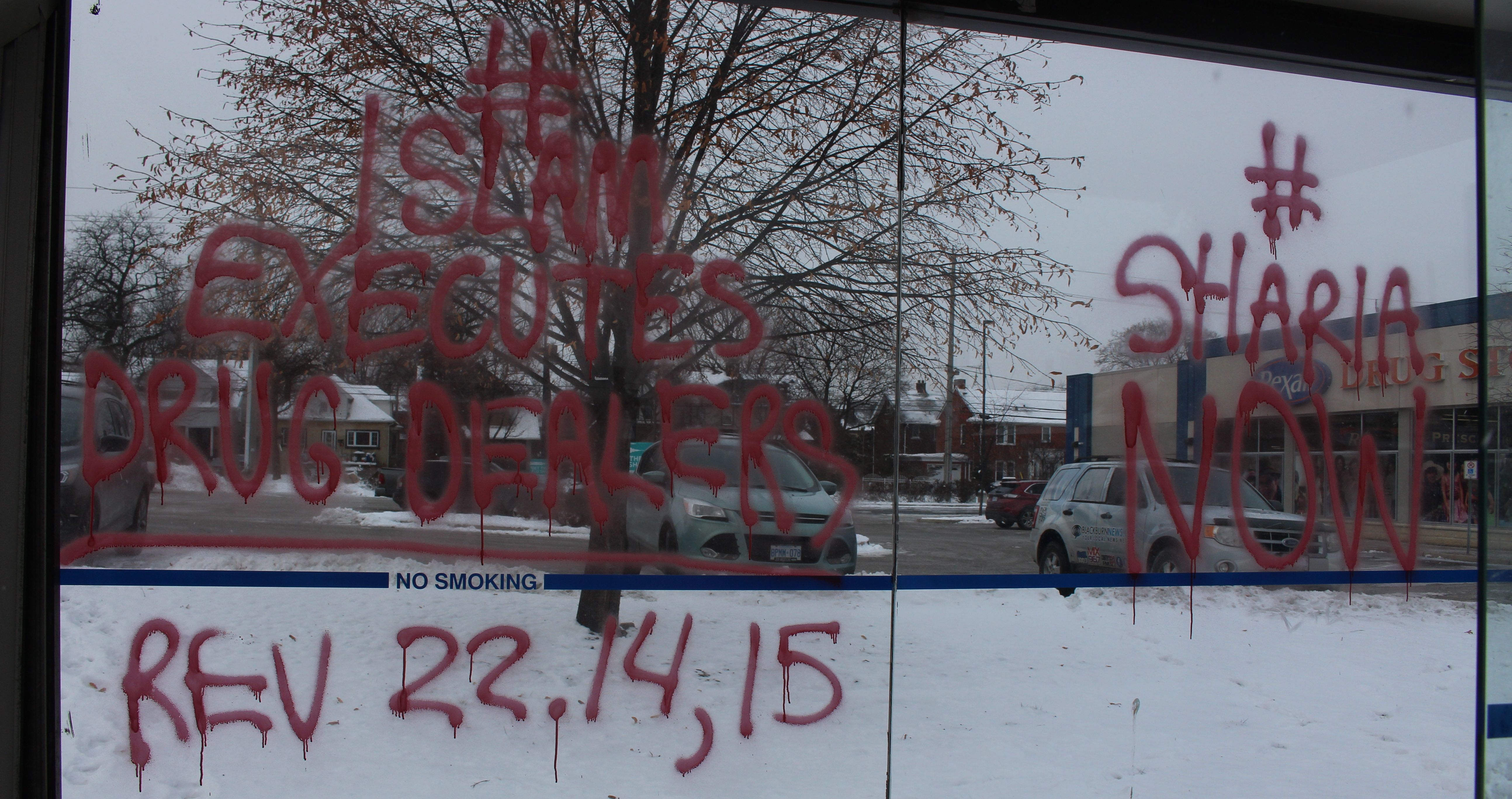 Anti-Islam Messages Spray-Painted On Bus Shelters, Windsor Star Building