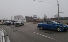 Two-vehicle collision right outside our Blackburn Radio Station. Dec 13, 2017. (Photo by Colin Gowdy)