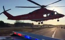 Air ambulance arrives at the scene of a multi-vehicle crash on the Hwy. 402 near Strathroy. December 6, 2017. (Photo courtesy of OPP via @OPP_WR on Twitter)