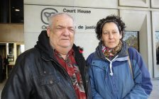 Deborah Titus' brother Bob Chemney and daughter Donna Titus outside of the London courthouse, December 6, 2017. (Photo by Miranda Chant, Blackburn News)