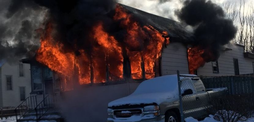 Fire at a home on Mill St. in Leamington, December 26, 2017 courtesy of Leamington Fire Services.