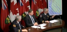 Amherstburg Deputy Fire Chief Lee Tome, Essex MPP Taras Natyshak, and Amherstburg Fire Chief Bruce Montone speak during a press conference at Queen's Park, December 12, 2017. (Photo courtesy of the NDP)
