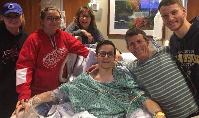 Shawn Florence surrounded by friends after a ski accident left him paralyzed. (Photo courtesy of gofundme.com/gofundshawn)