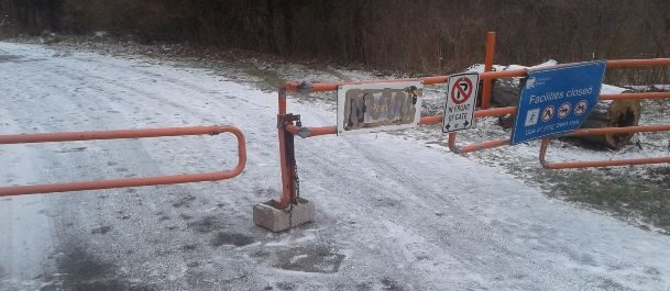 The outside gate at Wheatley Provincial Park after someone drove through it on December 9, 2017. (Photo courtesy of Chatham-Kent OPP)