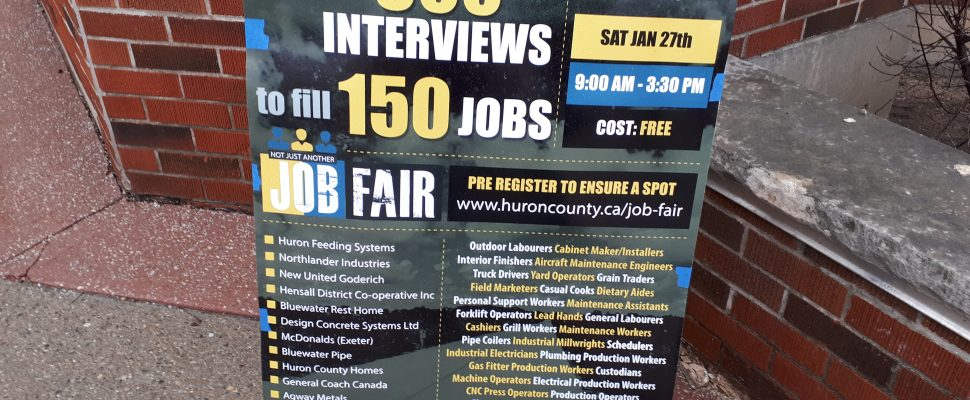 The sign for the job fair hosted by the Huron County Economic Development  Board at the Thames Valley District School Board office in London.