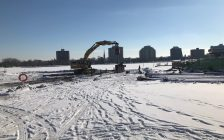 Construction of Sarnia's new Centennial Park Boat Ramp. January 19, 2018 (Photo via City of Sarnia Twitter)