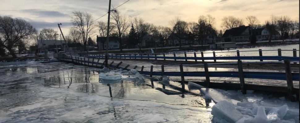 Ice damage to the Bluewater Ferry causeway. January 11, 2018 (Photo provided by Manager Morgan Dalgety)
