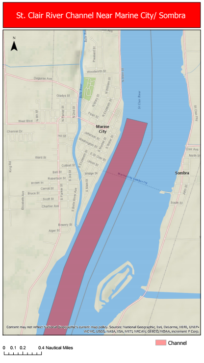 St. Clair River Channel (Map provided to Blackburn News Sarnia by the Canadian Coast Guard)