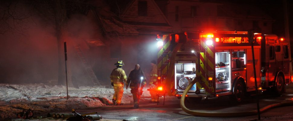 Fire crews respond to a house fire on Christina St. in Sarnia, January 2, 2017. (Photo courtesy of Currie Emergency Photography)