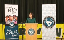 GECDSB Director of Education Erin Kelly announces funding for capital projects, January 31, 2017. (Photo by Maureen Revait)