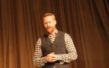 Jon Montgomery giving a speech at the 2018 Southwest Agricultural conference. January 3, 2018. (Photo by Sarah Cowan Blackburn News Chatham-Kent).