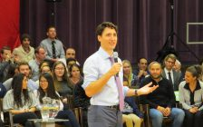 Prime Minister Justin Trudeau speaks at a town hall meeting at Western University, January 11, 2018. (Photo by Miranda Chant, Blackburn News)