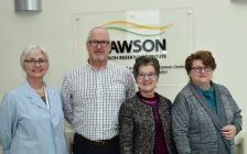 From left to right: Margaret Watson, research coordinator; Greg Ackland, research participant; Irene Hramiak, Lawson researcher and endocrinologist at St. Joseph's Health Care London; and Jocelyne Chauvin, research participant. Photo courtesy of Lawson Health Research Institute.